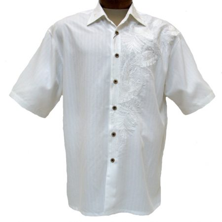 Men's Bamboo Cay® Short Sleeve Embroidered Modal Blend Shirt, Island Leaf Nation #WB7000B Off White