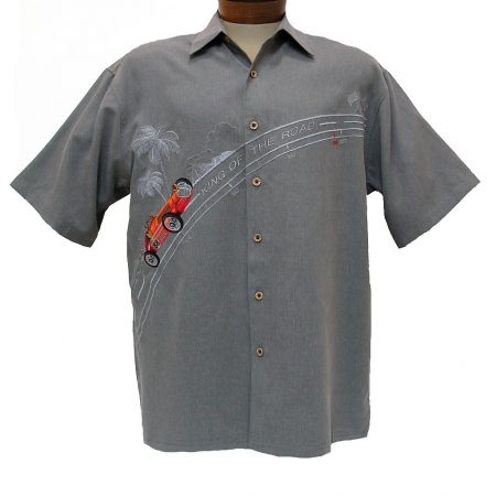 Men's Bamboo Cay® Short Sleeve Embroidered Modal Blend Shirt, King Of The Road #WB1708 Grey