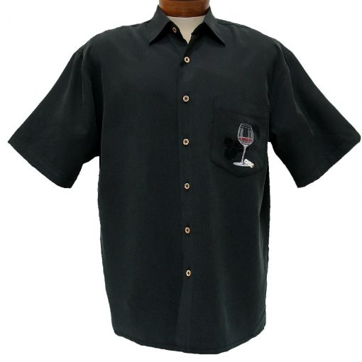 Men's Bamboo Cay® Short Sleeve Embroidered Modal Blend Shirt, Relax & Unwined #WB0217 Black