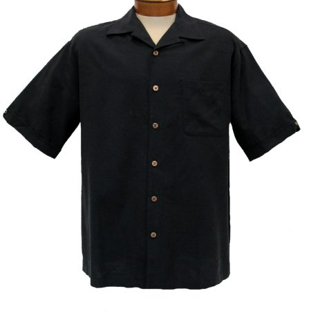 Men's Cellinni Short Sleeve Solid Textured Silk Blend Shirt #3800-900 Black