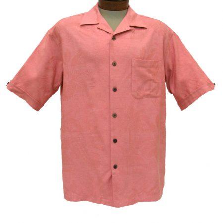 Men's Cellinni Short Sleeve Solid Textured Silk Blend Shirt #3800-900 Melon