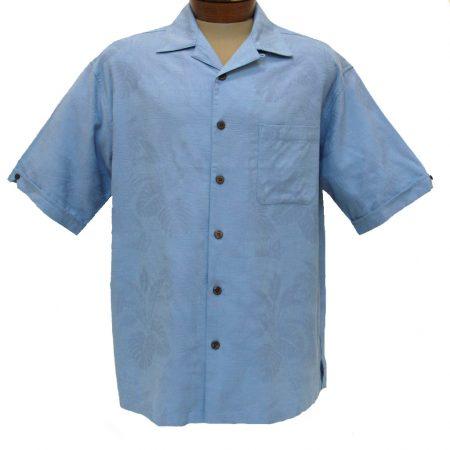Men's Cellinni Short Sleeve Solid Textured Silk Blend Shirt #3800-900 Sky Blue