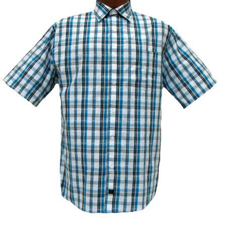 Men's F/X Fusion® Short Sleeve Woven Sport Shirt, Aqua-White Multi Plaid #D753