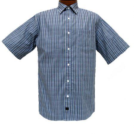 Men's F/X Fusion® Short Sleeve Woven Sport Shirt, Blue Overprint Stripe #D760