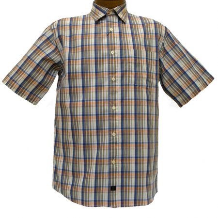 Men's F/X Fusion® Short Sleeve Woven Sport Shirt, Peach Multi Plaid #D768