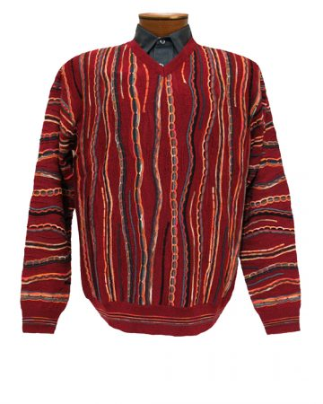 Men's Montechiaro® Made in Italy Long Sleeve Textured V-Neck Sweater #14G1207 Bordeaux