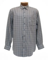 Men's Enro® Milton Double Faced Twill Long Sleeve 100% Cotton Non-Iron Woven Plaid Sport Shirt, Gray