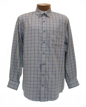 Men's Enro® Milton Double Faced Twill Long Sleeve 100% Cotton Non-Iron Woven Plaid Sport Shirt, Gray