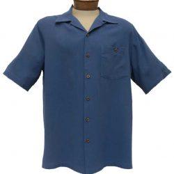 Beyond Paradise 100% Silk Short Sleeve Shirt #3005 Navy