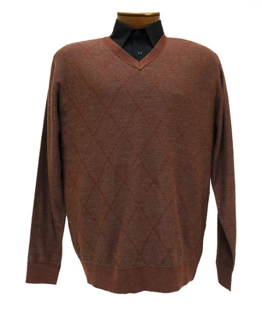 Men's Tagio® Diamond Front Long Sleeve V-Neck Sweater #3501 Spice
