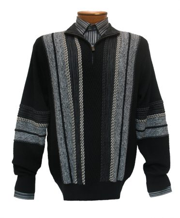 Men's F/X Fusion Textured Basket Weave 1/4-Zip Mock Long Sleeve Sweater #457 Black