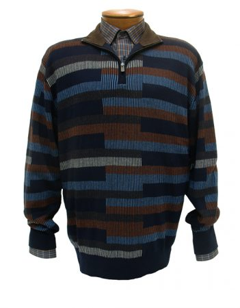 Men's F/X Fusion All Over Brick Pattern 1/4-Zip Mock Long Sleeve Sweater #464 Navy