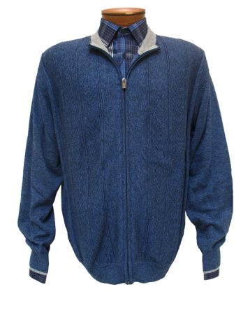 Men's F/X Fusion Cabled Full Zip Mock Neck Long Sleeve Cardigan Sweater #498 Blue Heather