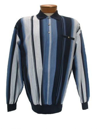 Men's LD Sport By Palmland® Long Sleeve Vertical Pique Knit Banded Bottom Shirt #6094-105 Navy