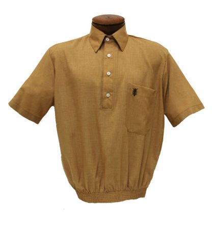 Men's D'Accord® Short Sleeve Banded Bottom Shirt #6441 6442 Wheat Gold