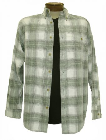 MEN'S BASIC OPTIONS LONG SLEEVE YARN DYED HOMBRE PLAID CORDUROY SHIRT #81043-22A Stone/Olive