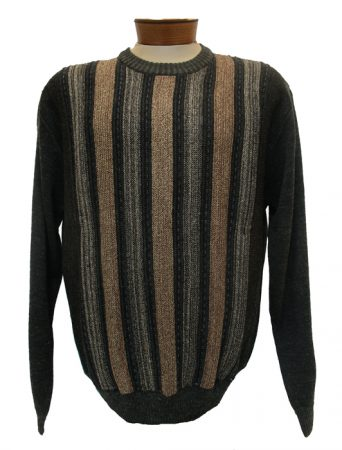 Men's Cellinni Vertical Textured Wool Blend Crew Neck Sweater #5800-812 Brown
