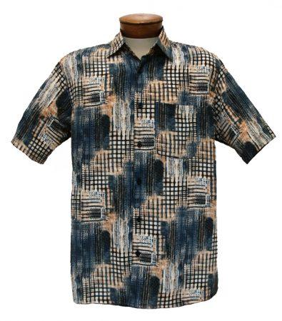 Men's Bassiri Short Sleeve Button Front Sport Shirt #3852 Blue/Tan
