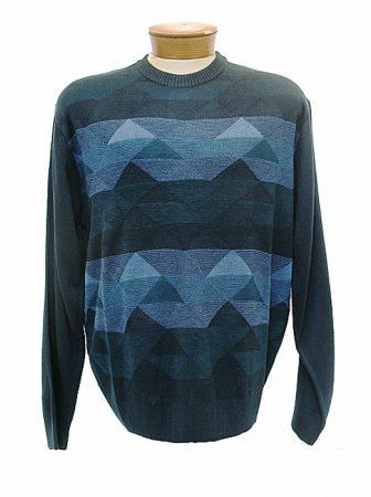 Men's Cellinni Geometric Jacquard Wool Blend Crew Neck Sweater #5800-815 Teal/Navy