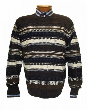 Men's F/X Fusion Textured Honey Comb Crew Neck Long Sleeve Sweater #455 Brown