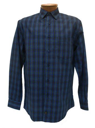 Men's F/X Fusion® Long Sleeve Woven Sport Shirt-Navy/Brown Plaid #D621