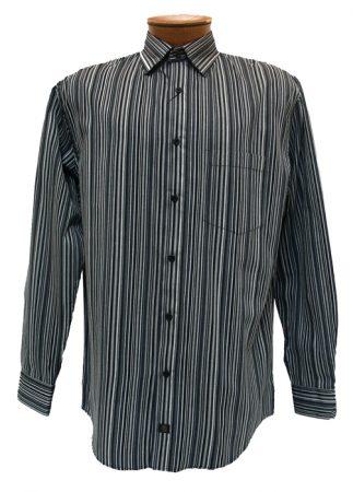 Men's F/X Fusion® Long Sleeve Woven Sport Shirt-Black/Grey Stripe #D639