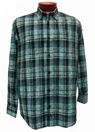 Men's JRandall Collection By F/X Fusion® Long Sleeve 100% Cotton Sport Shirt-Navy/Teal Print #J408