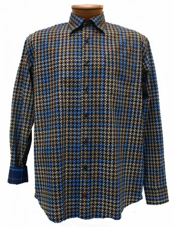 Men's JRandall Collection By F/X Fusion® Long Sleeve 100% Cotton Sport Shirt-Blue/Taupe Print #J430
