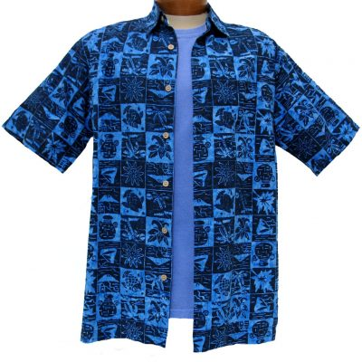 Men's Island by Basic Options® Short Sleeve Batik Shirt #61746-3 Ocean Blue