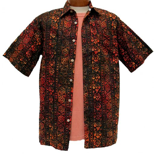 Men's Island by Basic Options® Short Sleeve Batik Shirt #61740-6 Orange