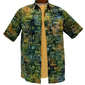 Men's Island by Basic Options® Short Sleeve Batik Shirt #61748-4 Spruce Green (M, ONLY!)