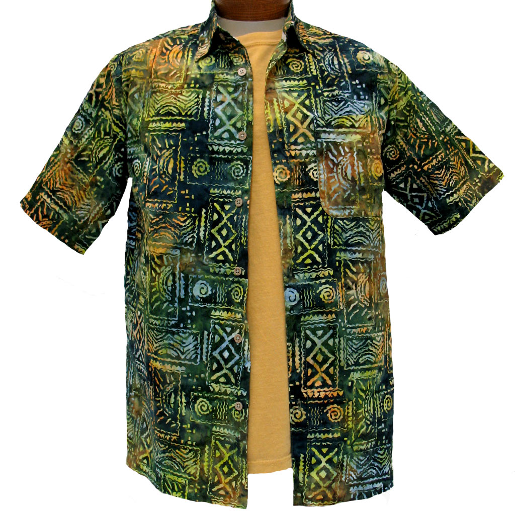 Men's Island by Basic Options® Short Sleeve Batik Shirt #61748-4 Spruce Green