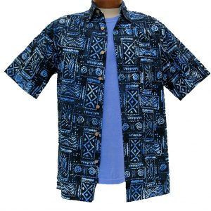 Men's Island by Basic Options® Short Sleeve Batik Shirt #61748-3 Blue