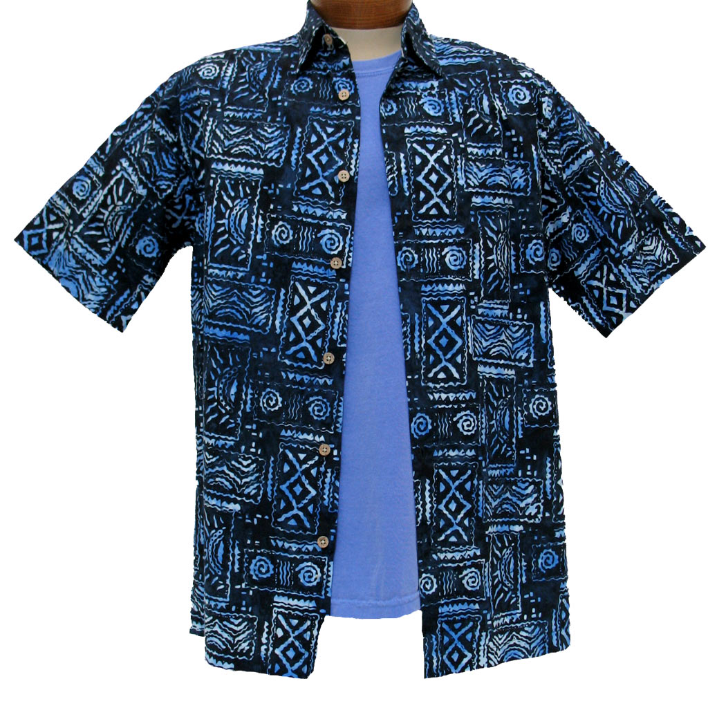 men 39 s island by basic options short sleeve batik shirt 61748 3 blue sold out richard. Black Bedroom Furniture Sets. Home Design Ideas