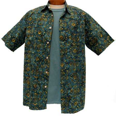 Men's Island by Basic Options® Short Sleeve Batik Shirt #61750-24 Deep Spruce