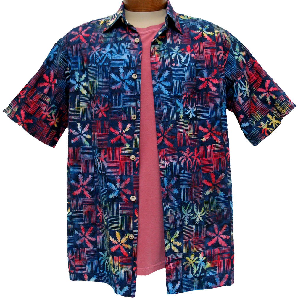 Men's Island by Basic Options® Short Sleeve Batik Shirt #61747-3 Blue Multi