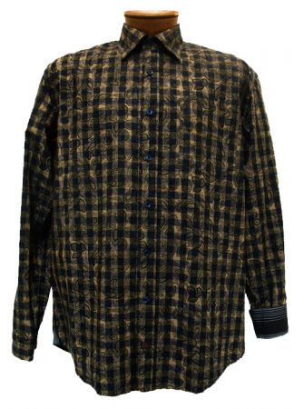 Men's JRandall Collection By F/X Fusion® Long Sleeve 100% Cotton Sport Shirt-Taupe/Black Print #J432