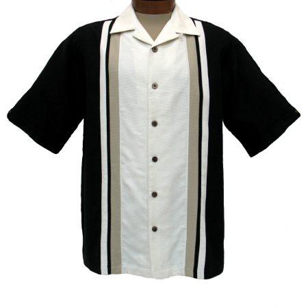 Men's Cellinni Short Sleeve Textured-Pieced 100% Silk Shirt #3800-906 Black