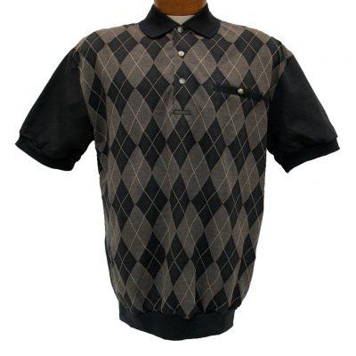 Men's LD Sport® By Palmland Short Sleeve Diamond Front Jacquard Knit Banded Bottom Shirt #6090-500 Black