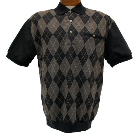 Men's LD Sport® By Palmland Short Sleeve Diamond Front Jacquard Knit Banded Bottom Shirt #6090-500 Black