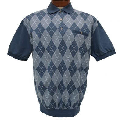 Men's LD Sport® By Palmland Short Sleeve Diamond Front Jacquard Knit Banded Bottom Shirt #6090-500 Blue Heather