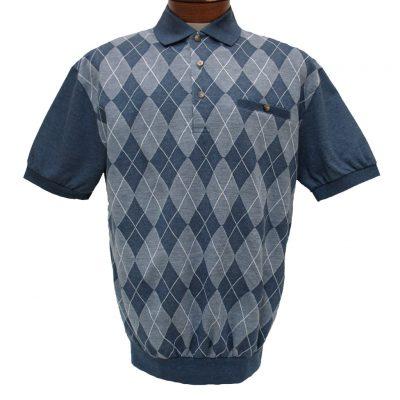Men's LD Sport® By Palmland Short Sleeve Diamond Front Jacquard Knit Banded Bottom Shirt #6090-500 Blue Heather