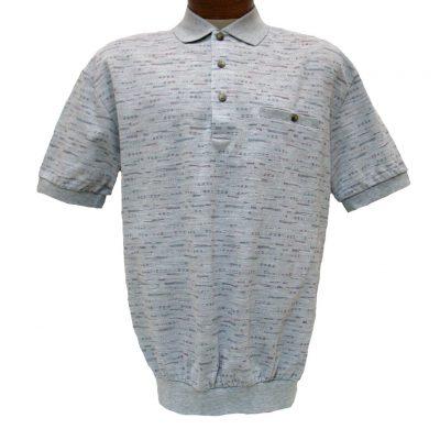 Men's LD Sport® By Palmland Short Sleeve Allover Jacquard Knit Banded Bottom Shirt #6090-502 Grey Heather