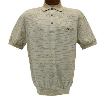 Men's LD Sport® By Palmland Short Sleeve Allover Jacquard Knit Banded Bottom Shirt #6090-502 Sand