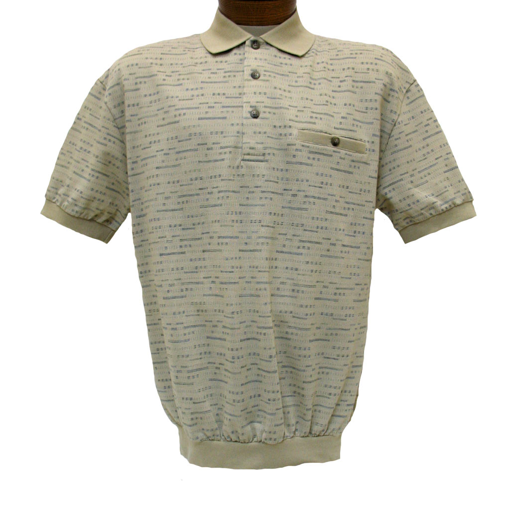 Men's LD Sport® By Palmland Short Sleeve Allover Jacquard Knit Banded Bottom Shirt #6090-502 Sand