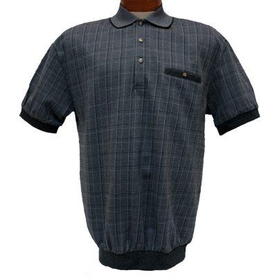 Men's LD Sport® By Palmland Short Sleeve Fancy Box Pattern Knit Banded Bottom Shirt #6090-505 Black