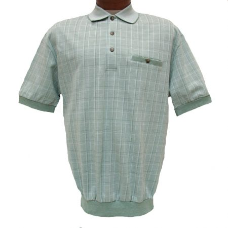 Men's LD Sport® By Palmland Short Sleeve Fancy Box Pattern Knit Banded Bottom Shirt #6090-505 Sage