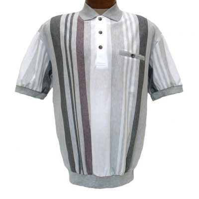 Men's LD Sport® By Palmland Short Sleeve Vertical End On End-Spripe Knit Banded Bottom Shirt #6090-506 Grey Heather