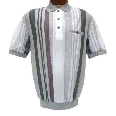 Men's LD Sport® By Palmland Short Sleeve Vertical End On End-Spripe Knit Banded Bottom Shirt #6090-506 Grey Heather