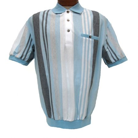 Men's LD Sport® By Palmland Short Sleeve Vertical End On End-Spripe Knit Banded Bottom Shirt #6090-506 Lt. Blue